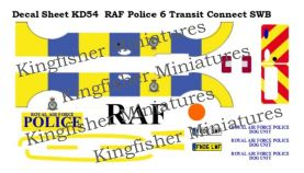 Royal Air Force Police markings Set 6 - Ford Transit Connect SWB